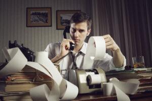 Geschäftsmann mit Steuer-Ärger