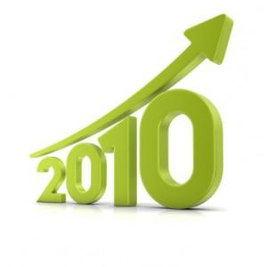 Aufsteigende Kurve über der Jahreszahl 2010