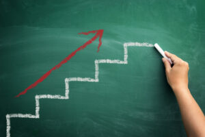 Businessfortschritt mit Pfeil aufwärts