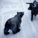 bär und stier kämpfen auf börsen dokument