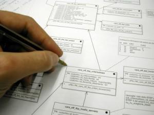 Eine Hand welche eine Arbeitsstrategie zeichnet