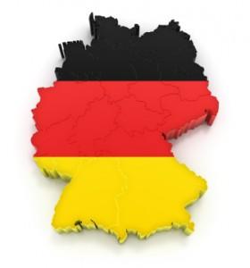 Deutschlandkarte mit Flagge