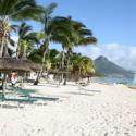 Krabischer Sandstrand mit Palmen