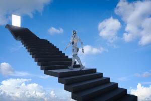 Roboter, der Treppe hochgeht