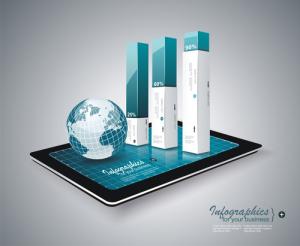 Moderne Infografik auf einem Tablet PC