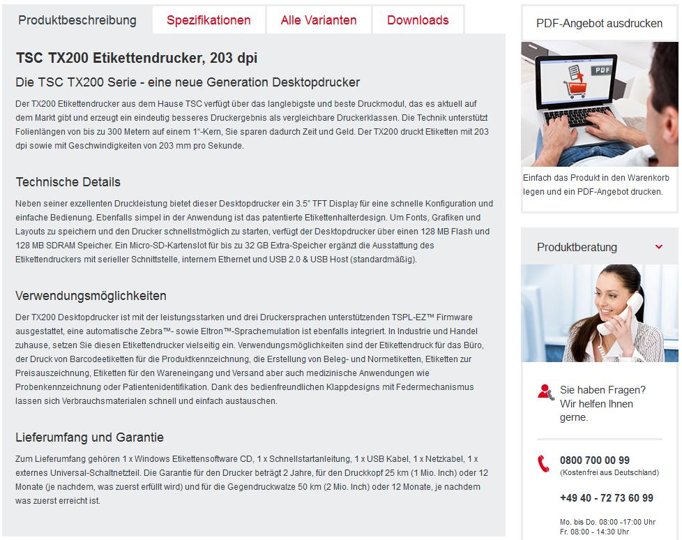 Vorbildlich gestaltete Produktdetailseite, Bildquelle: mediaform.de