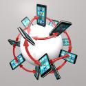 Globales Kommunikationsnetzwerk zwischen Smartphones und Apps