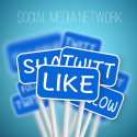 Social Media begriffe wie like, share, tweet oder follow