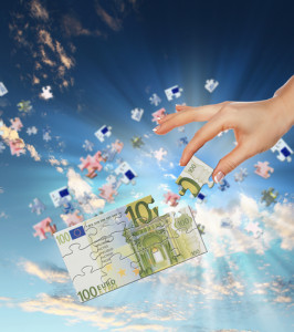 pieces of euro banknote puzzle getting together