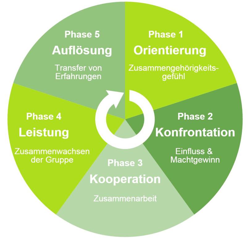 Schematische Darstellung des Phasenmodells nach Tuckman. Bildquelle: Onpulson.de