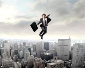 Arbeitnehmer springt zum Erfolg