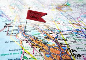 Silicon Valley flagge auf einer Landkarte
