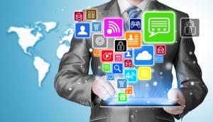 Social media auf einem Tablet PC