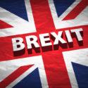 Brexit auf einer Großbritanien Flagge