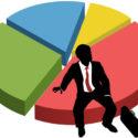 Geschäftsschattenbild sitzen Marktanteildiagramm