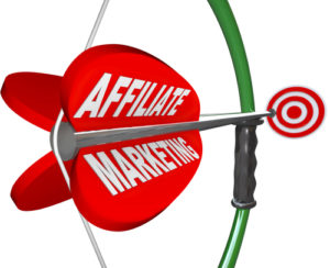 The words Affiliate Marketing on an arrow being aimed with a bow toward a target bulls-eye, representing a business with plan or strategy to make money as an advertising affiliate