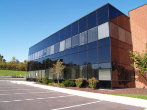exterior of a modern building with glass