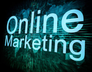 Online Marketing concept on digital screen