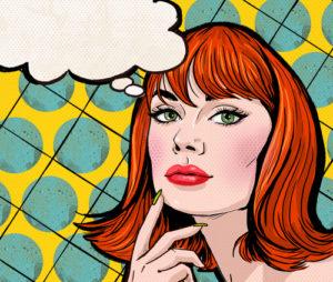 Pop-Art-Illustration des Mädchens mit der Sprechblase