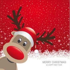 Weihnachtskarte mit Weihnachtsgrüßen und Rentier mit roter Nase
