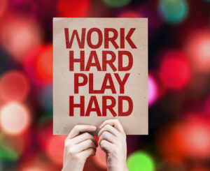 Work Hard Play Hard Schild