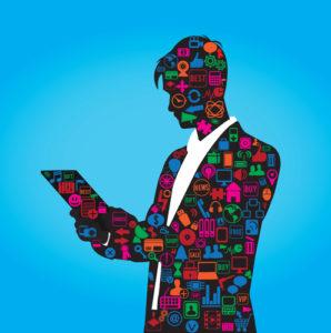 die Silhouette eines Geschäftsmanns mit Social-Media-Symbolen
