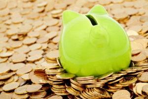 Sparschwein in Münzen