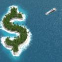 Steuerparadies, Finanz- oder Vermögenshinterziehung auf einer Dollarinsel. Ein Luxusboot segelt zur Insel.