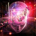 Collage des menschlichen Kopfes, der Stellen und der verschiedenen abstrakten Elemente bezüglich der künstlichen Intelligenz, der modernen Wissenschaft, der Computertechnologie und des menschlichen und künstlichen Verstandes