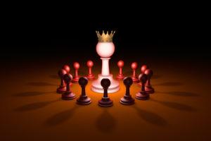 Der neue Anführer (Schachmetapher). Abbildung in 3D