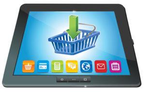 Tablet PC mit Einkaufswagen