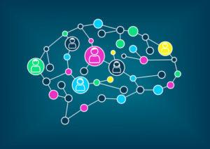 Schwarmintelligenz oder Mengenbeschaffungskonzept. Vector Illustration des vereinfachten Gehirns mit Verbindungen zwischen Knoten.