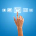 Übergeben Sie das Drücken des Warenkorbsymbols von den Medienikonen auf Blaurückseite