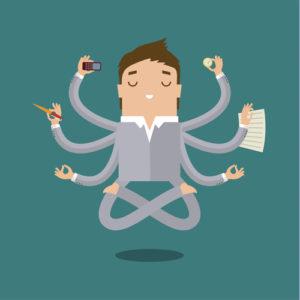 Geschäftsmann mit Multitasking
