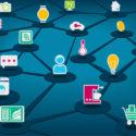 Vektorillustration des Internets der Sachen (IoT) mit verbundenen Geräten. Dunkelblauer Hintergrund.