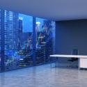 Ein Arbeitsplatz in einem modernen panoramischen Eckbüro mit New- Yorkabendansicht und Devisendiagramm. Ein schwarzer Ledersessel und ein weißer Tisch. Ein Konzept der Finanzberatung. 3D-Rendering.
