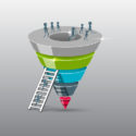 Umwandlungs- oder Verkaufstrichter 3d, Vektorgrafik