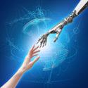 weibliche Hände von Menschen und Robotern als Symbol für die Verbindung zwischen Menschen und Technologie der künstlichen Intelligenz