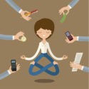 Geschäftsfrau macht Yoga