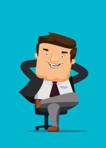 CEO, der in einem Stuhl mit großen Ideen sitzt