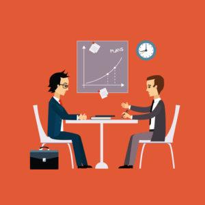 Geschäftsleute, zwei Männer am Tisch, die handeln