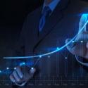 Geschäftsmann Hand Touch virtuelles Diagramm Geschäft
