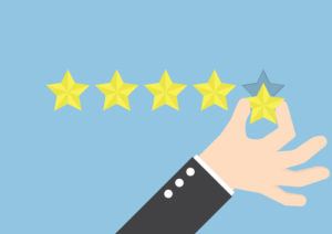 Geschäftsmannhand, die Fünf-Sterne-Bewertung, Feedbackkonzept gibt