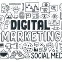 Gekritzel-Elementsatz des digitalen Marketings