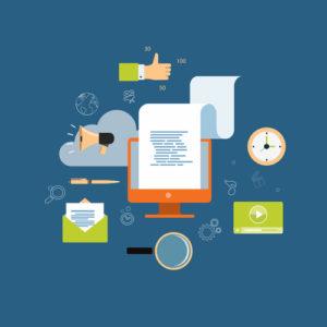 Marketing für digitale Inhalte für Online-Geschäftshintergrund