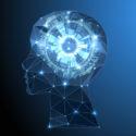 Kreativer Gehirnkonzepthintergrund mit dreieckigem Gitter.