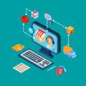 Einkaufs-E-Commerce-Ikonen eingestellt isometrisch