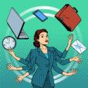 Geschäftsfrau Geschäftsideen-Zeitmanagement vieler Hände