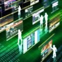 Personen benutzen viruelle Bildschirme, Digitalisierungs Konzept