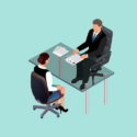Geschäftsleute in der Klage, die am Tisch sitzt. Treffen. Vorstellungsgespräch. Bewerber. Konzept der Einstellung von Arbeitnehmern.